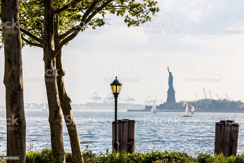 Battery Park and the Statue of Liberty stock photo