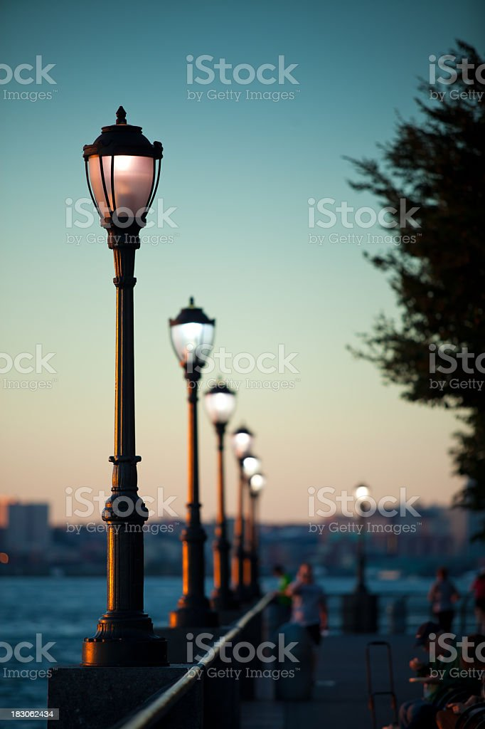 Battery Park at Sunset, Lower Manhattan stock photo