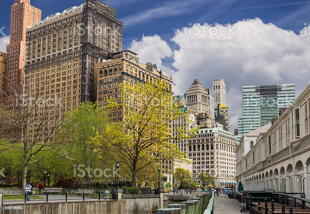 Battery Park City and Lower Manhattan Skyline, New York. stock photo