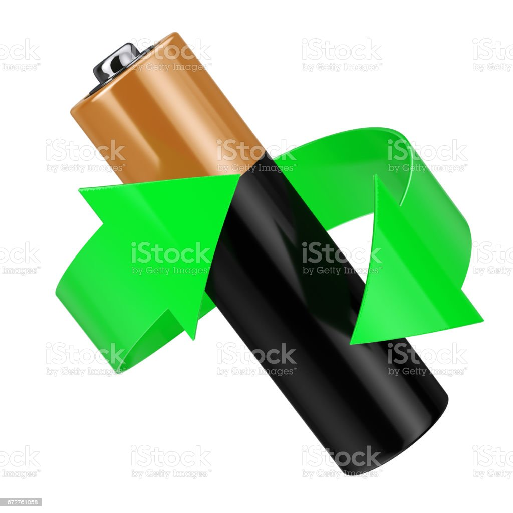 Battery Recycling Concept. Green Arrow Around Battery. 3d Rendering stock photo