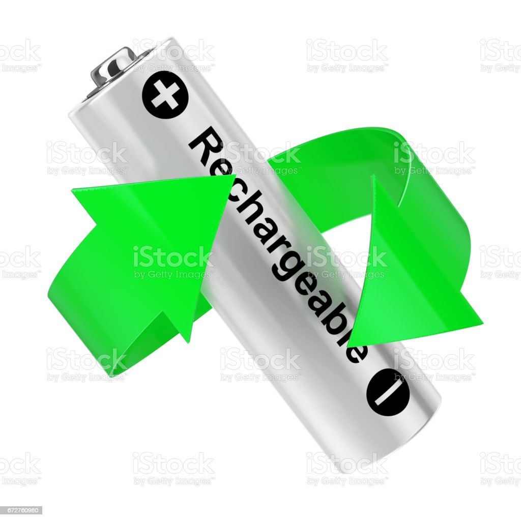 Battery Recycling Concept. Green Arrow Around Rechargeable Battery. 3d Rendering stock photo