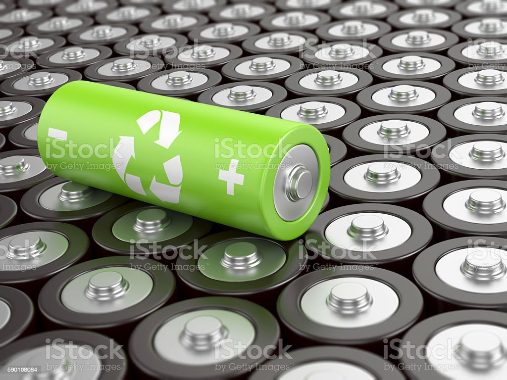 Battery recycling concept stock photo