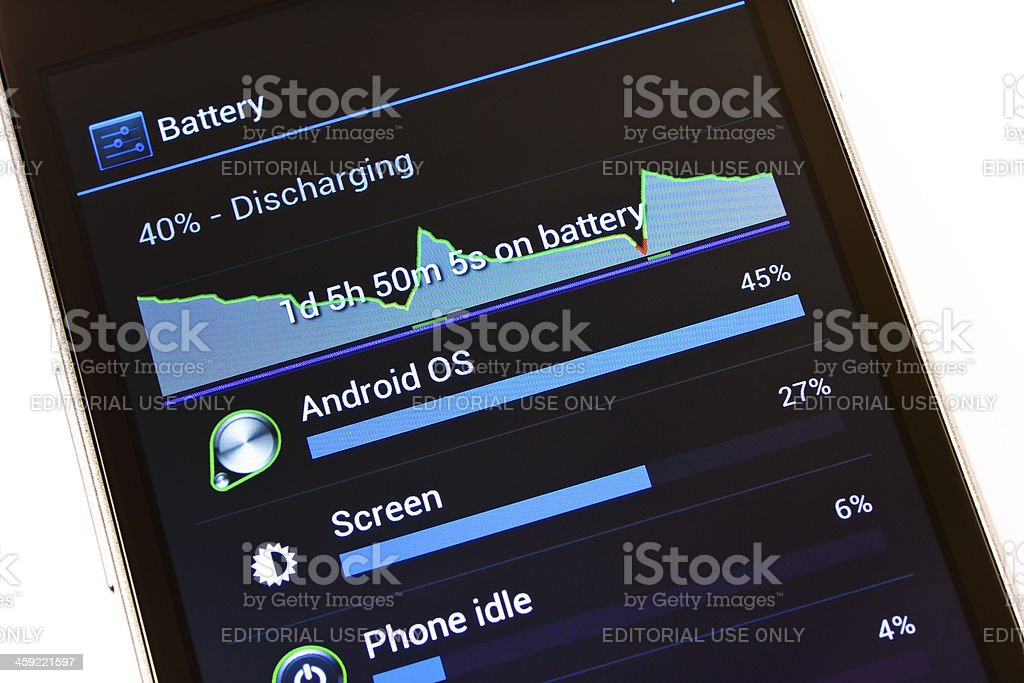 Battery Settings on Samsung Galaxy Nexus with Android 4 stock photo