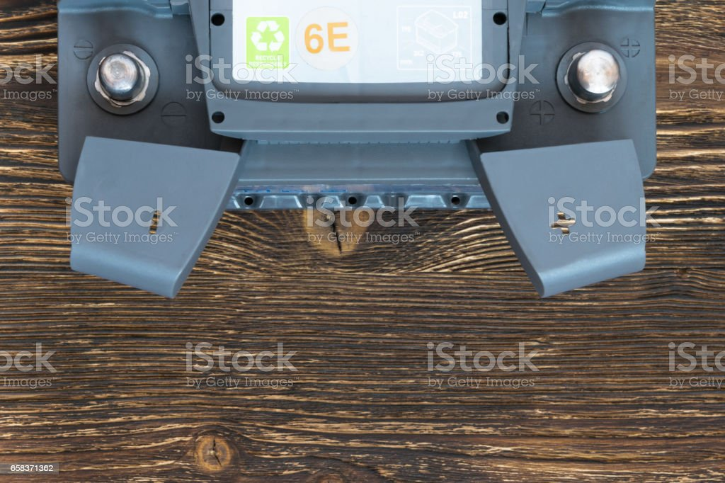 Battery terminals are on the table top view stock photo