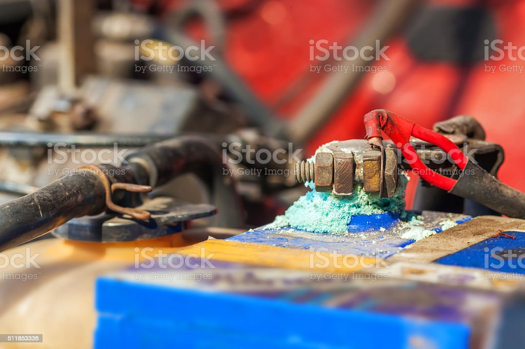 Battery terminals corrode stock photo