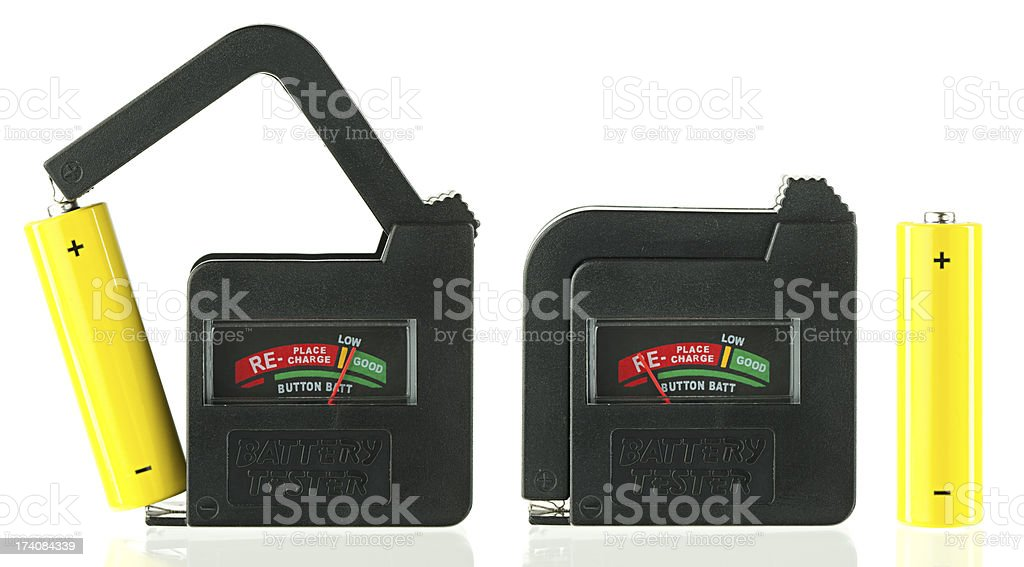 Battery tester stock photo