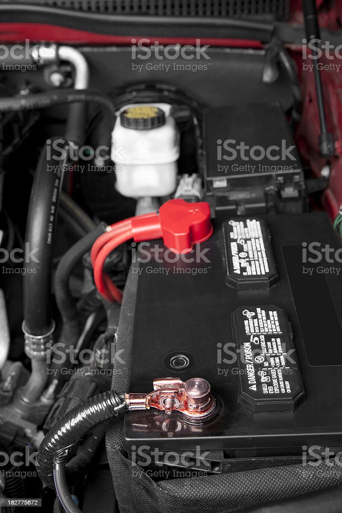 Battery Under the Hood stock photo