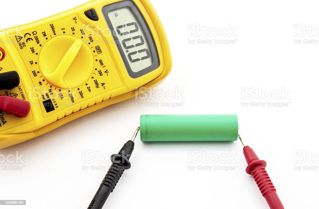 Battery voltage measurement royalty-free stock photo