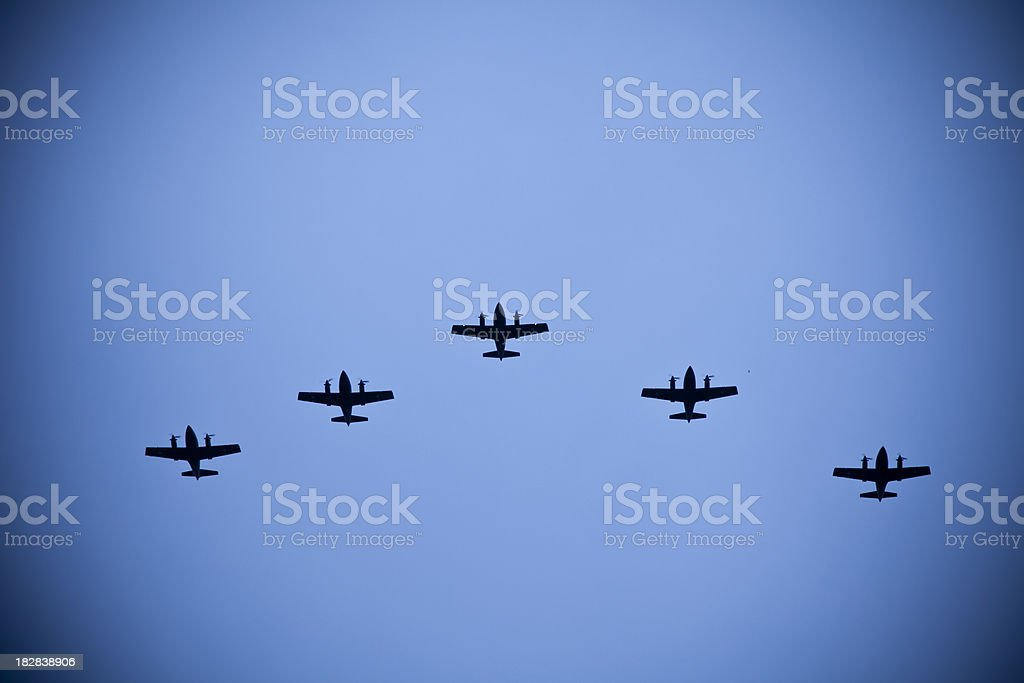 Battle aircraft formation stock photo
