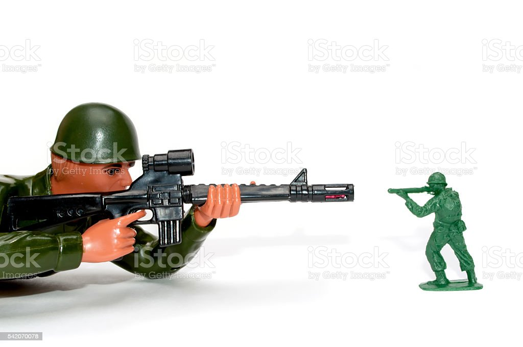 Battle between big and small stock photo