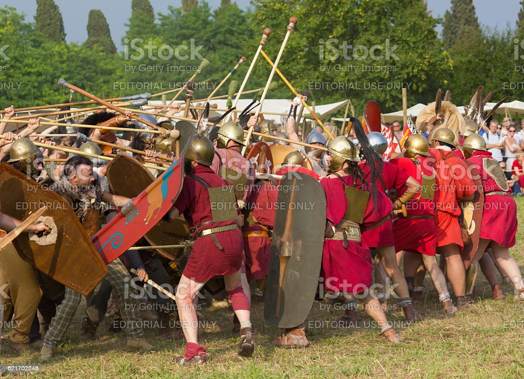 Battle between the Ancient Romans and the Carnic Celts stock photo