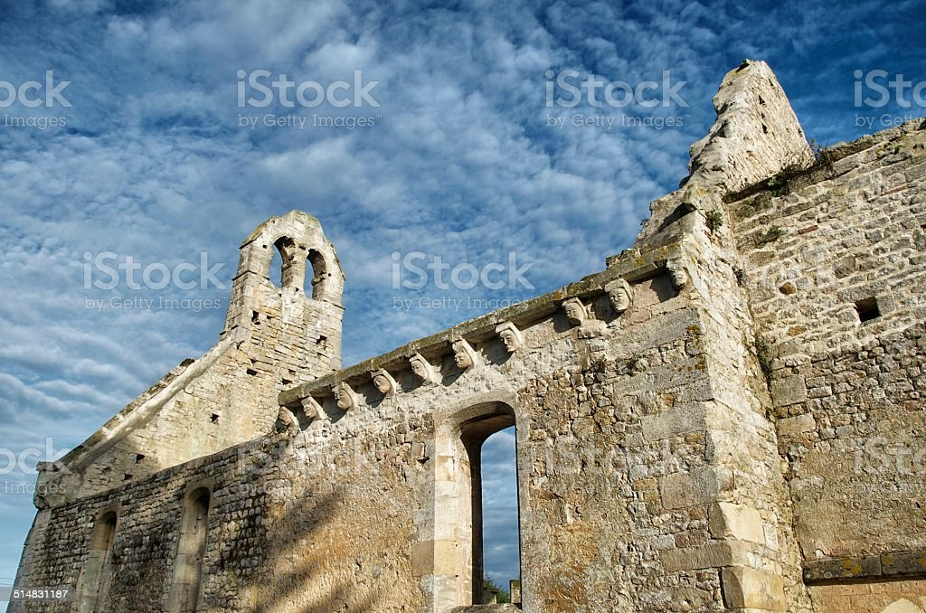 Battle Damaged Ruined Normandy Church stock photo