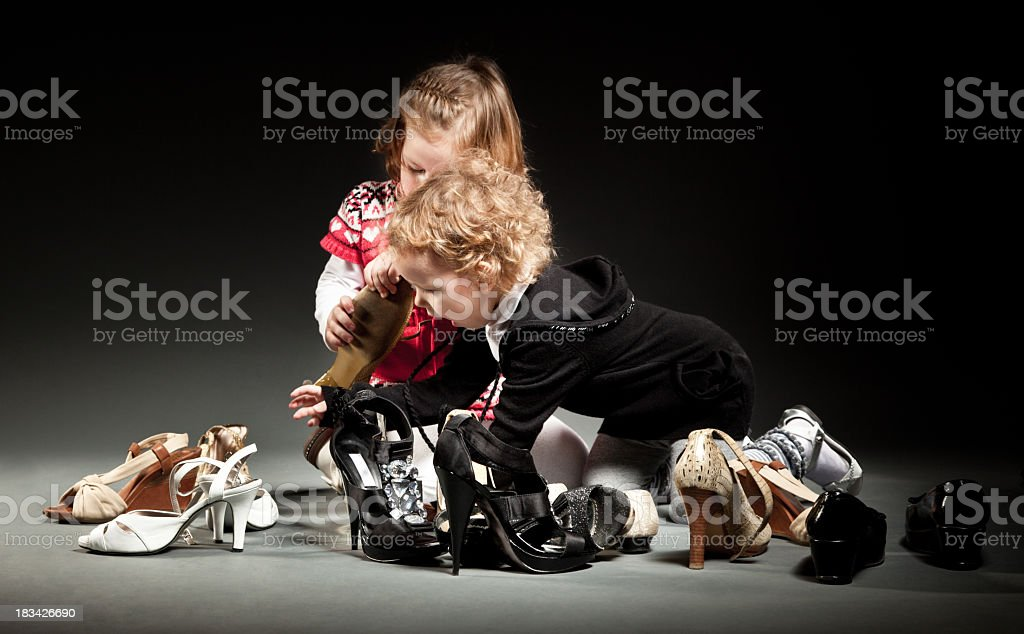Battle for shoes royalty-free stock photo
