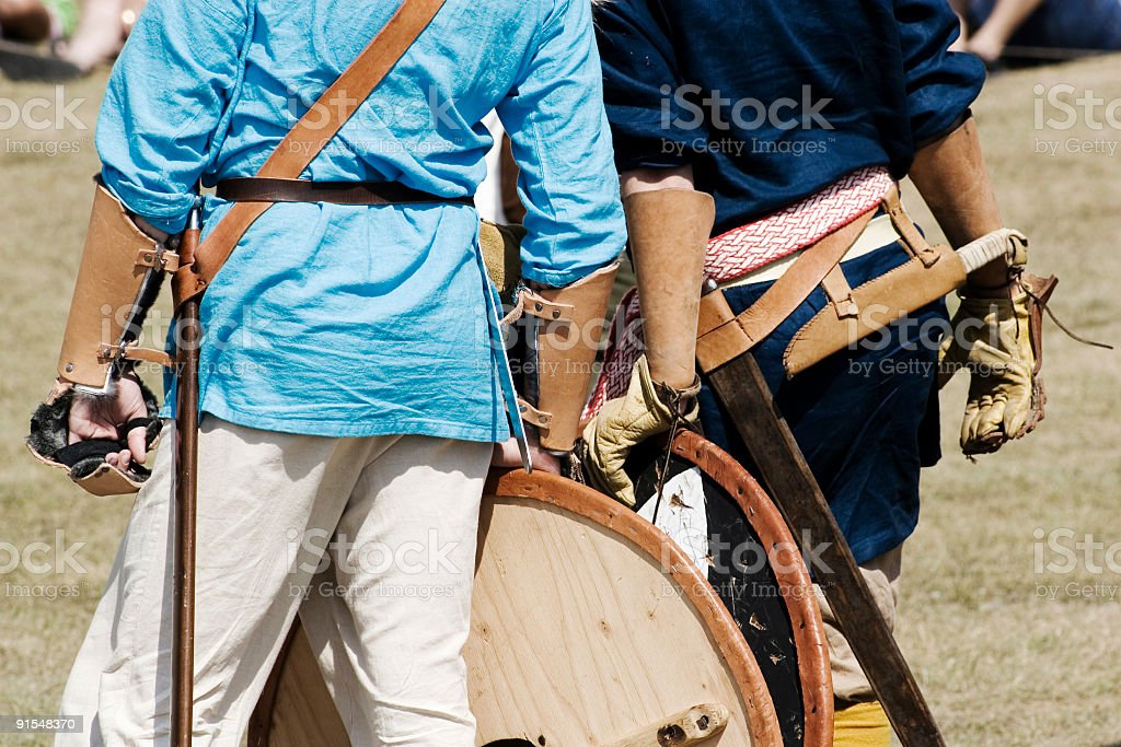 Battle gear for viking recreationists. stock photo