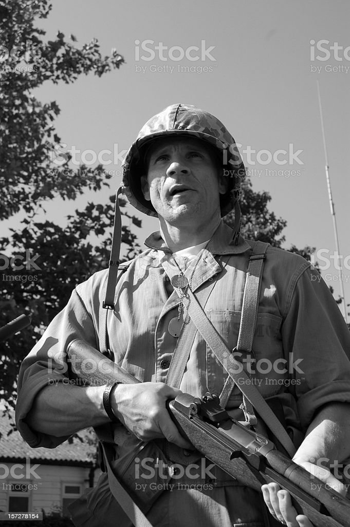 Battle Hardened Marine WW2. stock photo