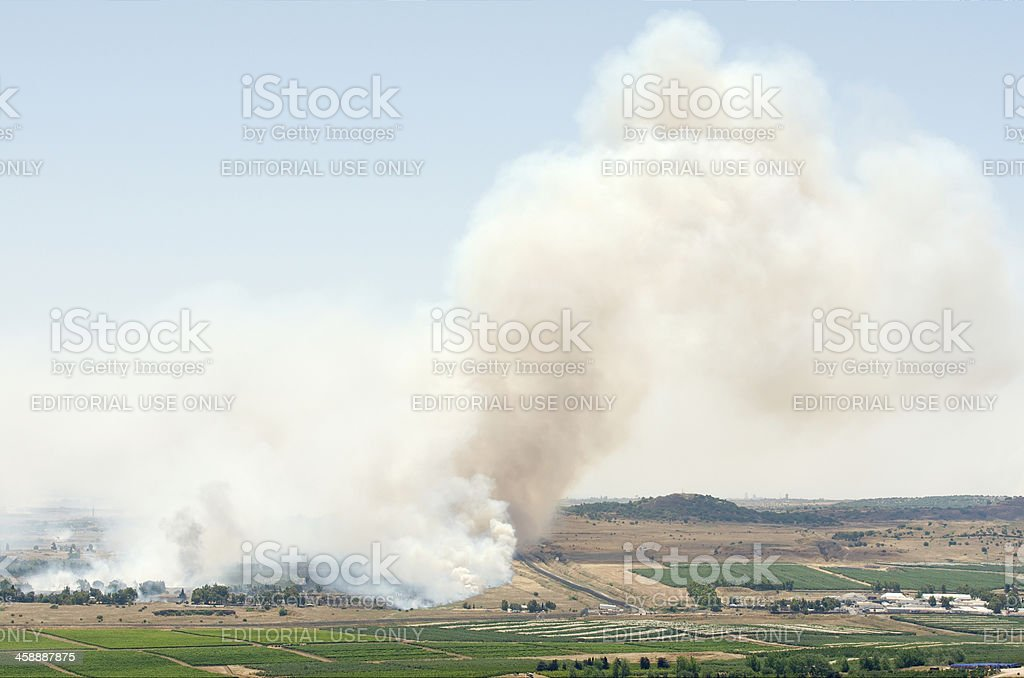 Battle in Syrian city Al-Qunaytirah near Israeli border royalty-free stock photo