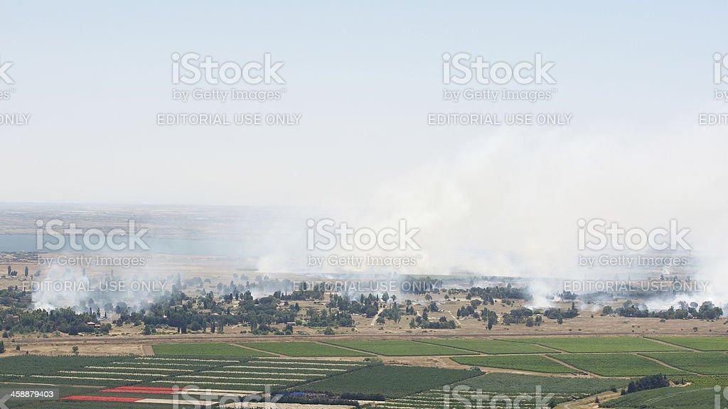 Battle in Syrian city Quneitra near Israeli border royalty-free stock photo