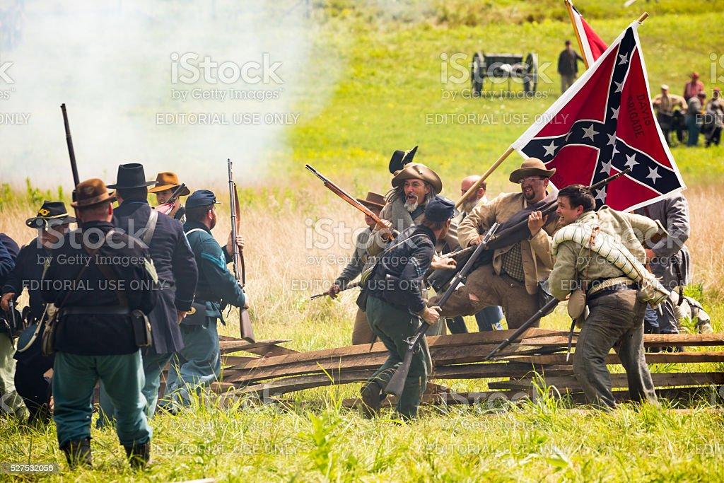 Battle of Gettysburg reenactment stock photo