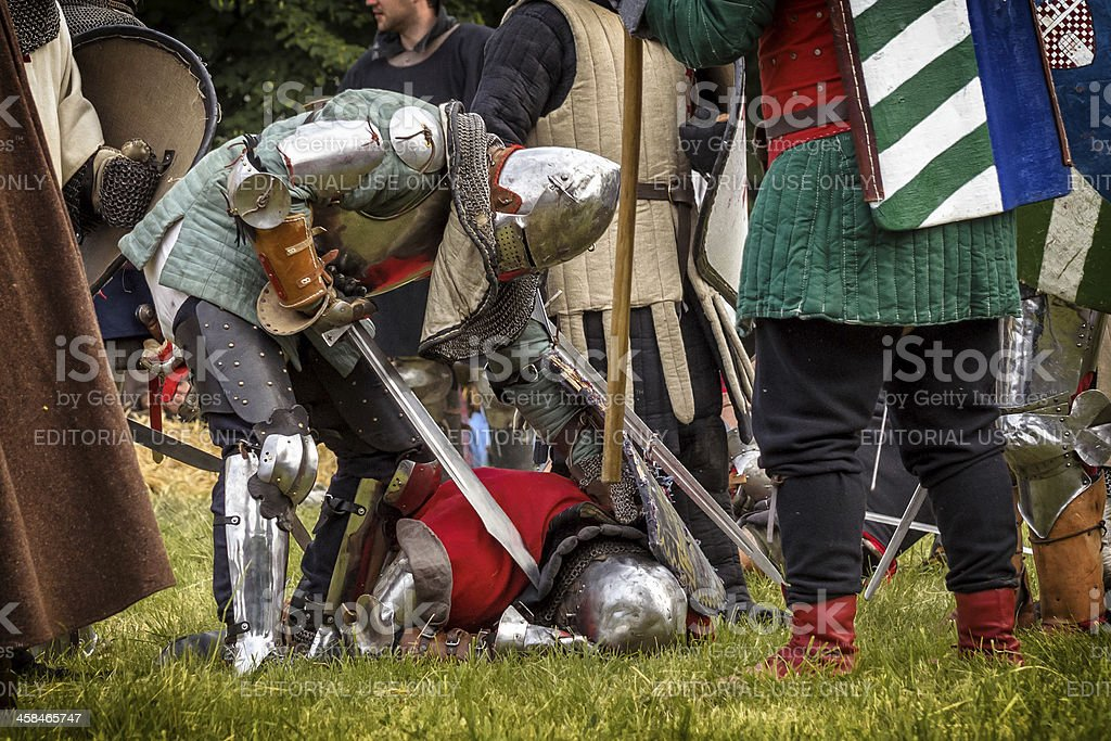 Battle of medieval knights royalty-free stock photo