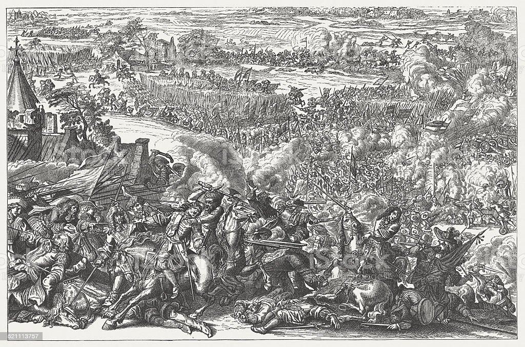 Battle of Seneffe on August 11, 1674, published 1881 stock photo