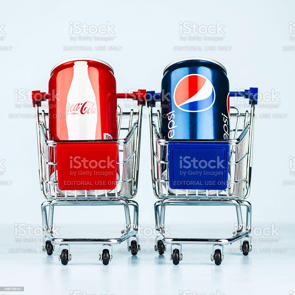 Battle of the Brands: Coke vs Pepsi royalty-free stock photo
