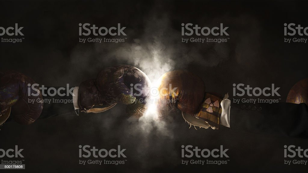 Battle of the environment against nuclear energy stock photo