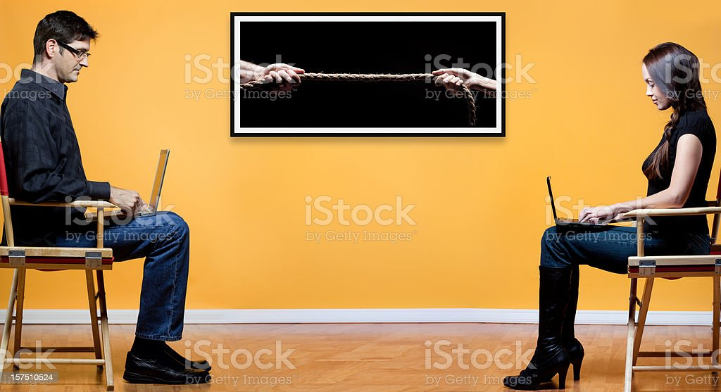 Battle of the sexes concept royalty-free stock photo