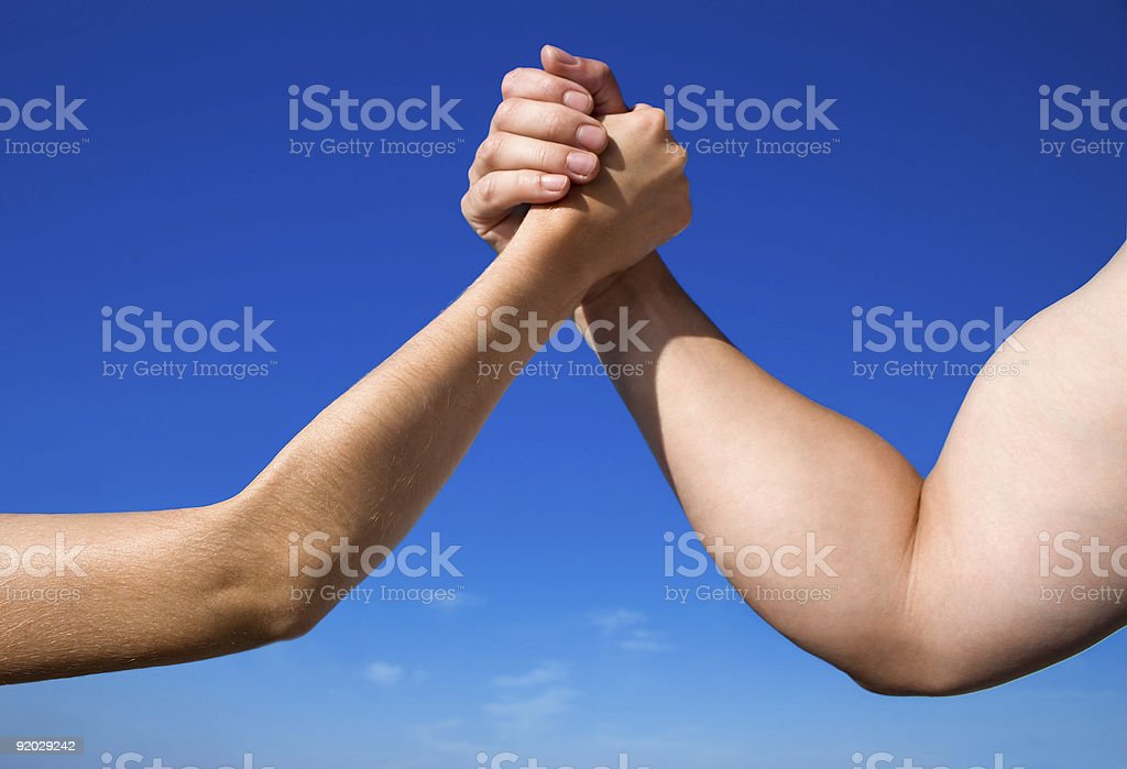 A battle of the sexes male Vs female stock photo