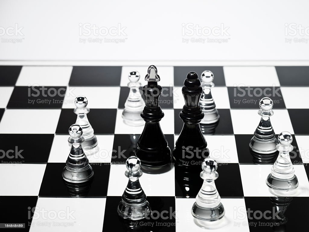 Battle on the chess stock photo