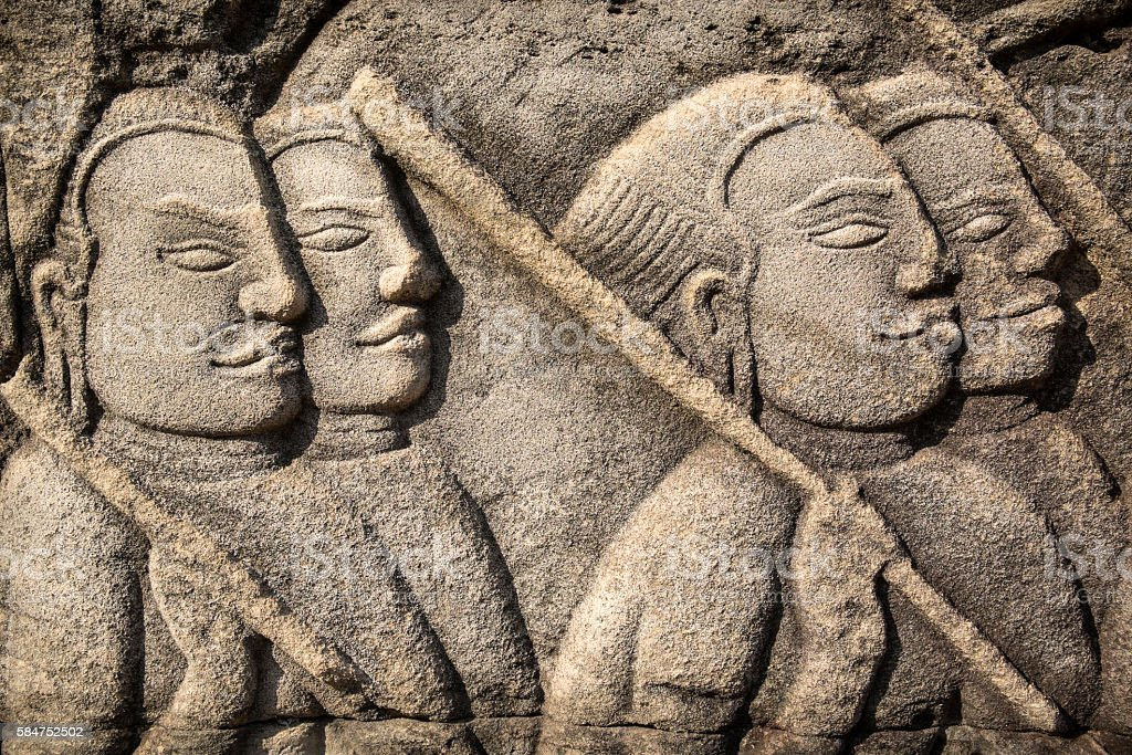 Battle scene bas relief at Bayon Temple, Cambodia stock photo