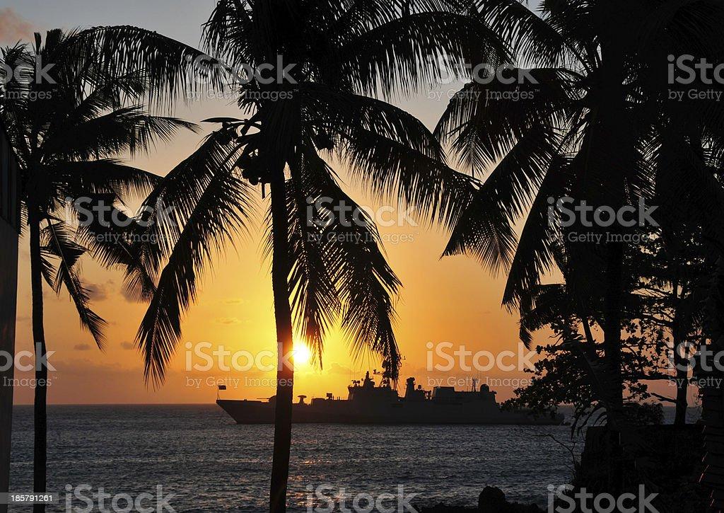 Battle ship - sunset stock photo