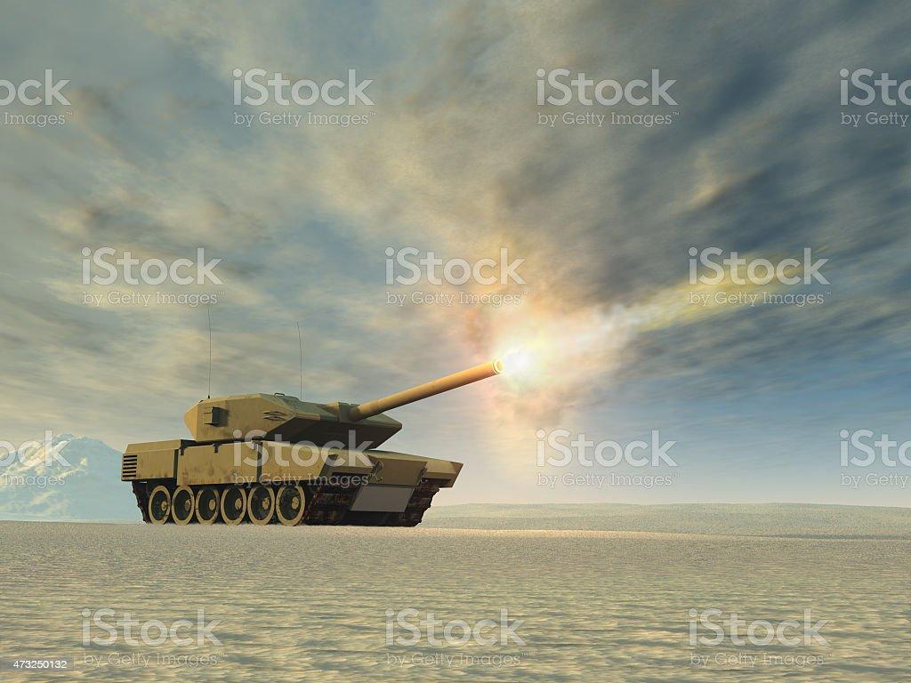 Battle tank firing stock photo