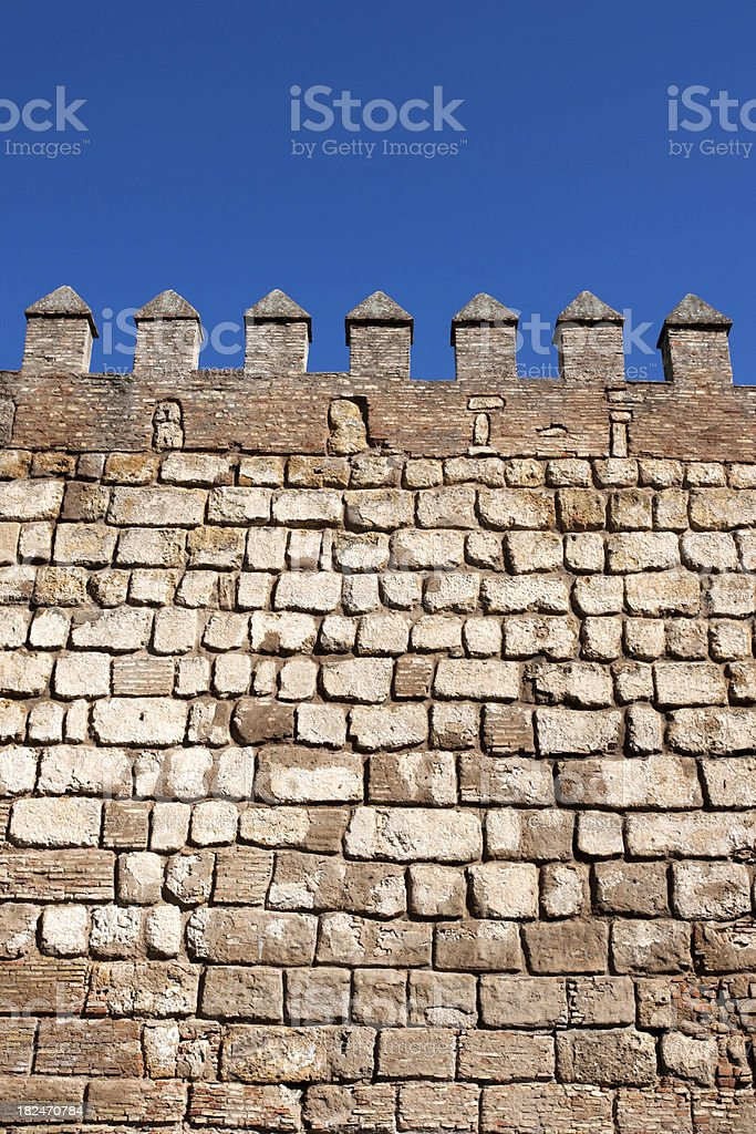 Battlements of the Alcazar Palace stock photo