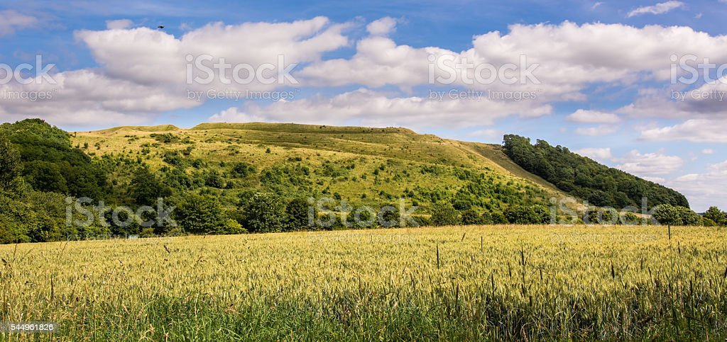 Battlesbury Hill in Wiltshire stock photo