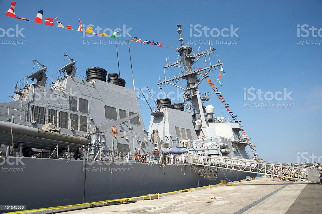 Battleship docked royalty-free stock photo