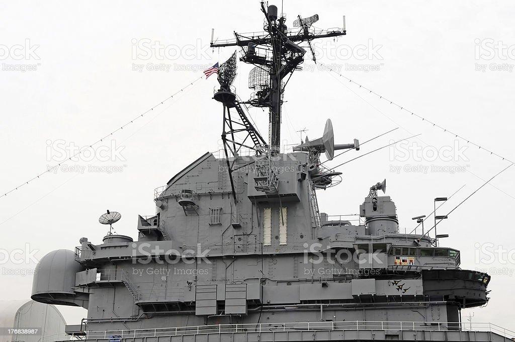 Battleship Intrepid Conning Tower stock photo
