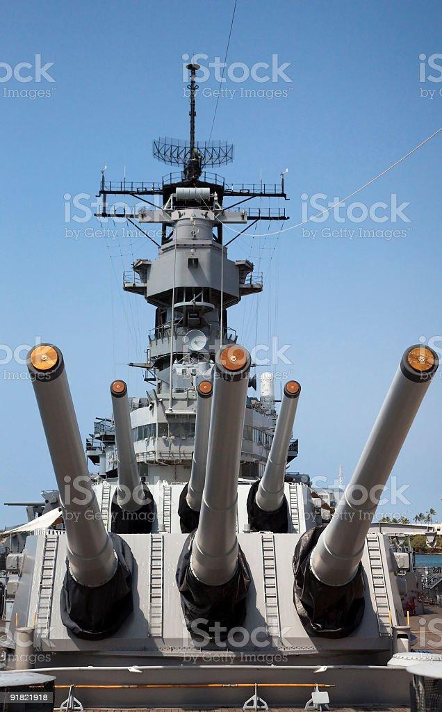 Battleship Missouri Forward Main Guns and Bridge royalty-free stock photo