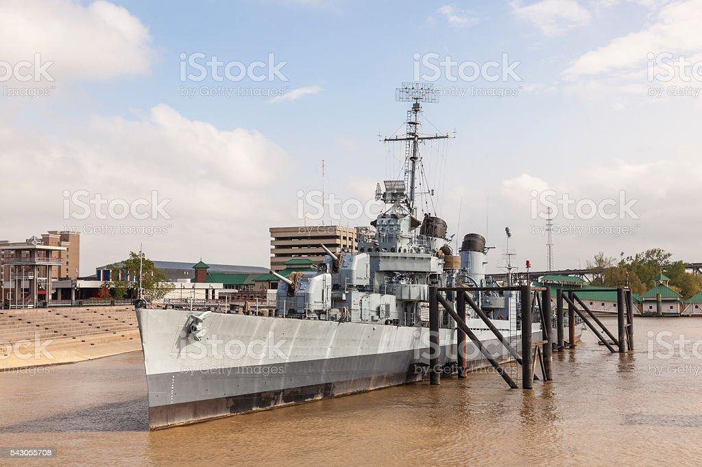 Battleship USS Kidd in Baton Rouge, Louisiana stock photo