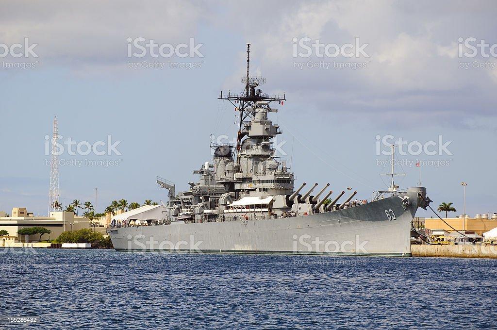 Battleship USS Missouri in Pearl Harbor stock photo