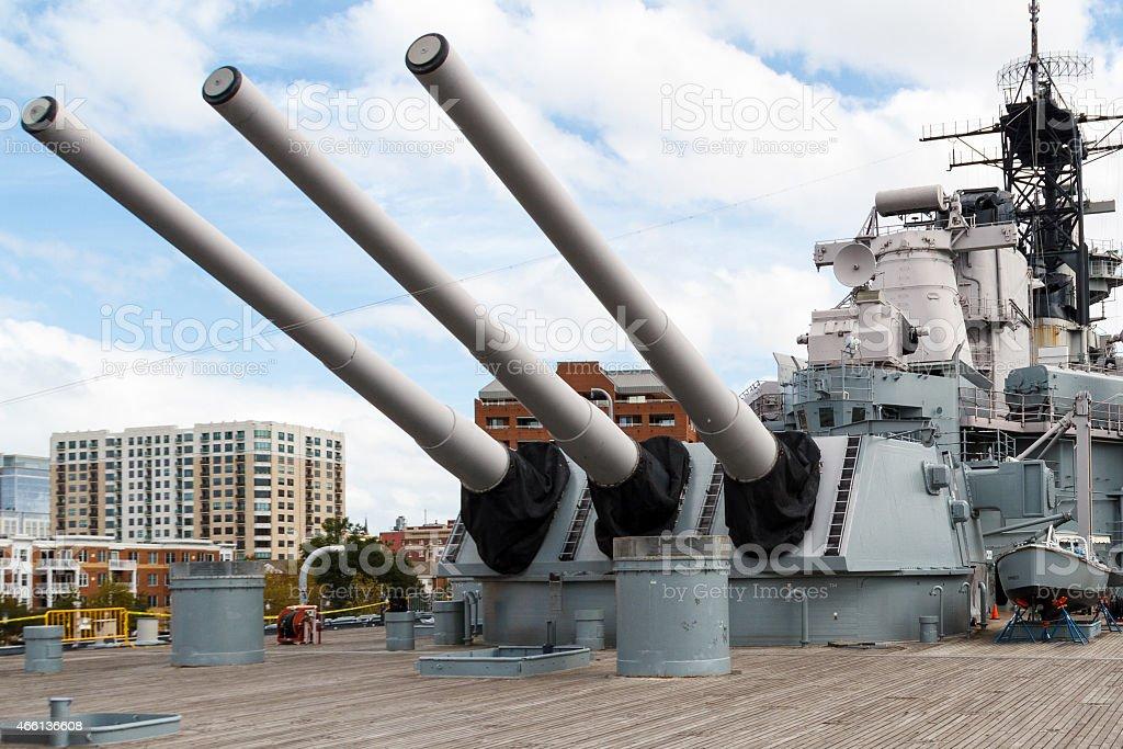 Battleship Wisconsin stock photo