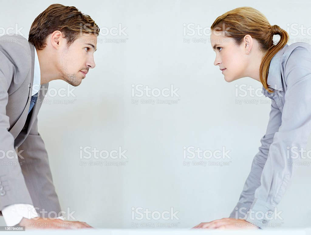 Battling it out in the business world royalty-free stock photo