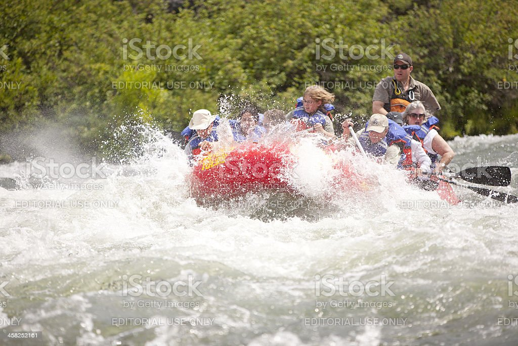 Battling Rough Rapids in a Raft stock photo