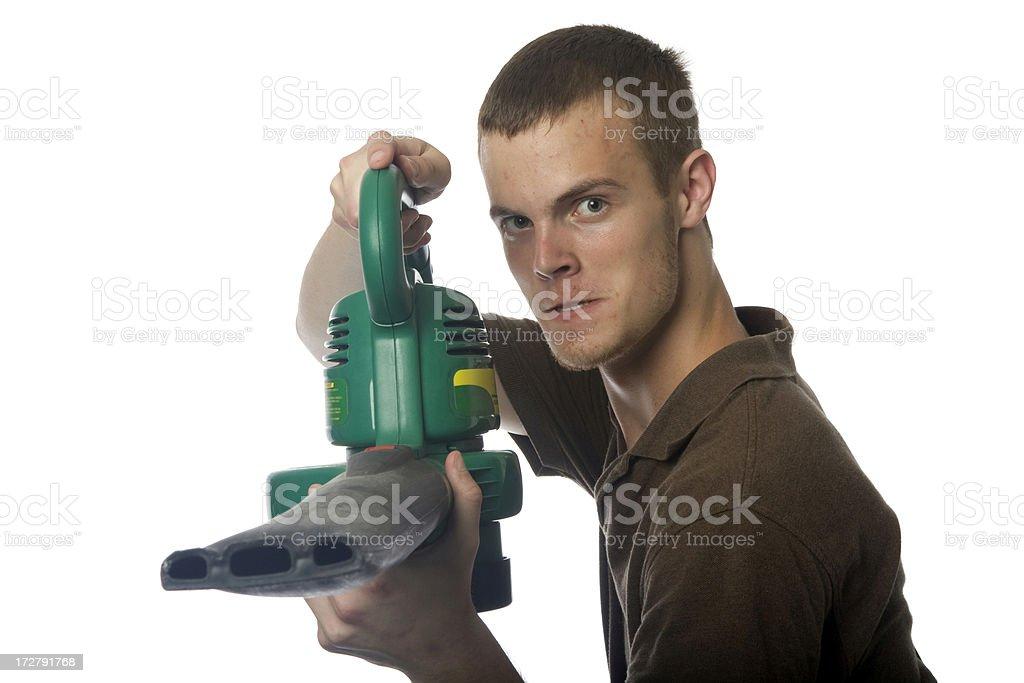 Battling Yard Work stock photo