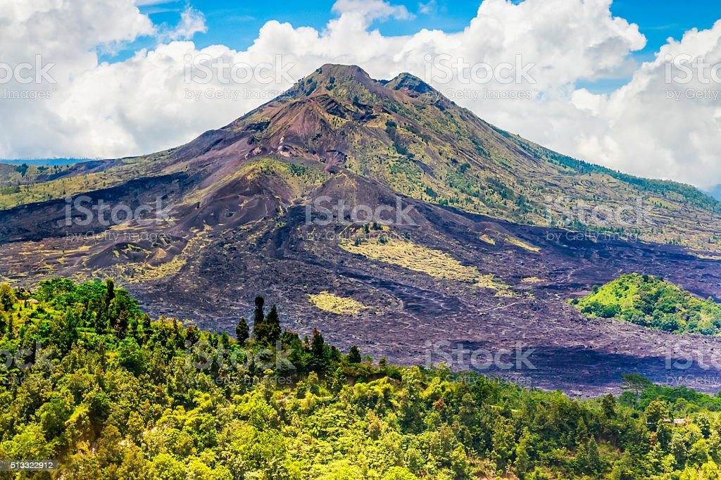 Batur volcano in Kintamani Bangli area Bali, Indonesia stock photo
