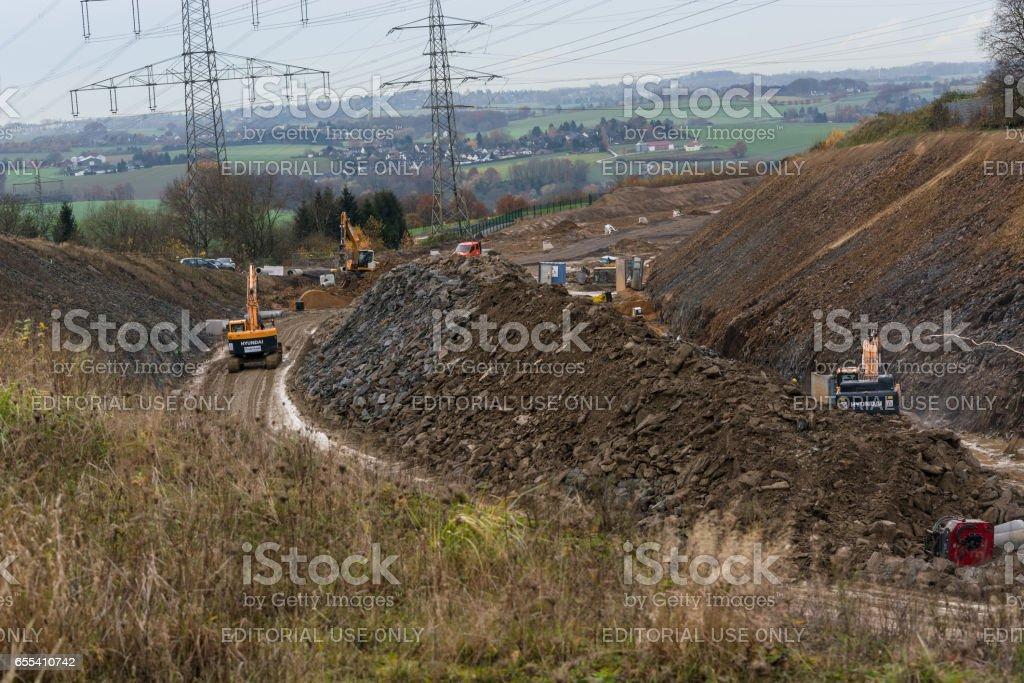Bau einer neuen Autobahn stock photo