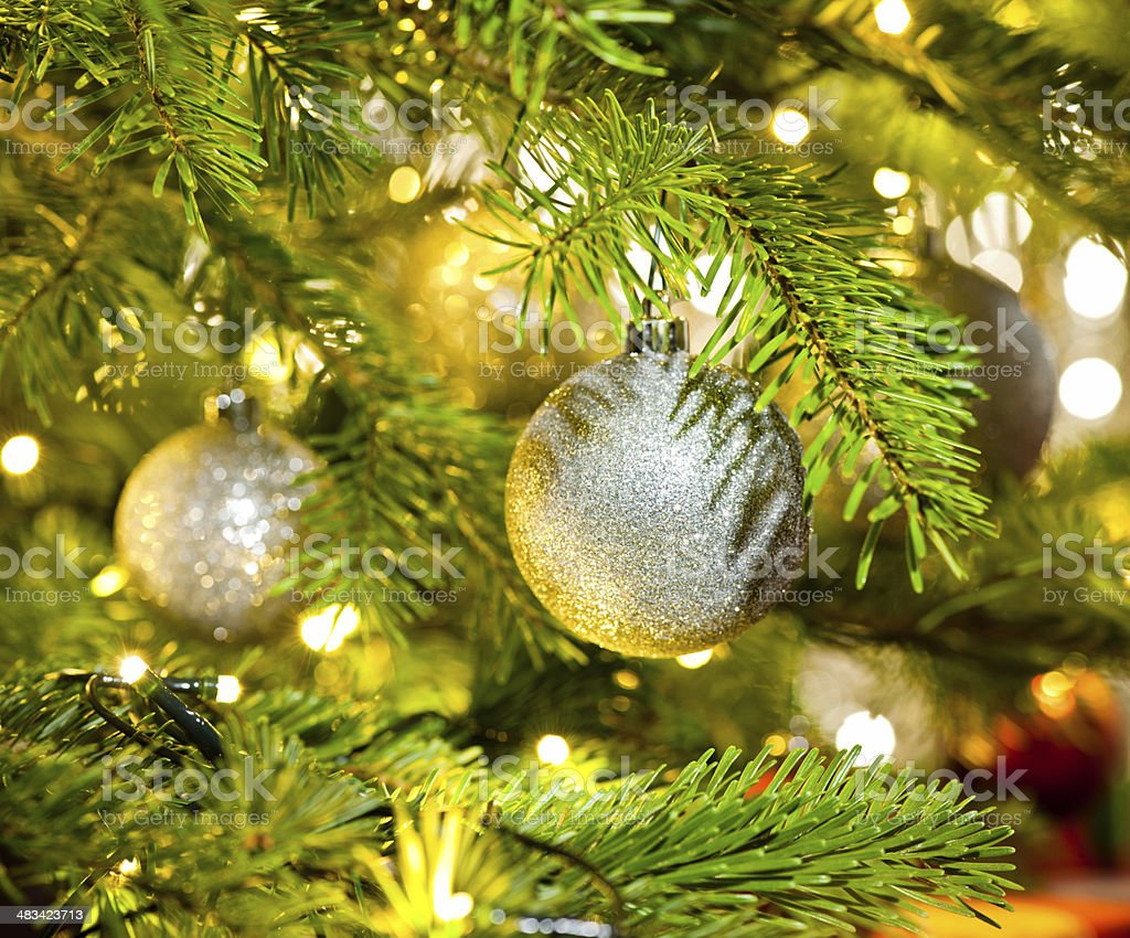 Bauble in a Christmas tree stock photo