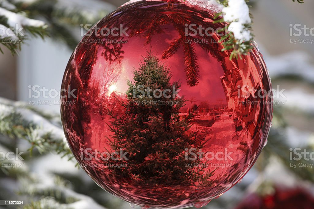 Bauble on Christmas Tree with reflection royalty-free stock photo