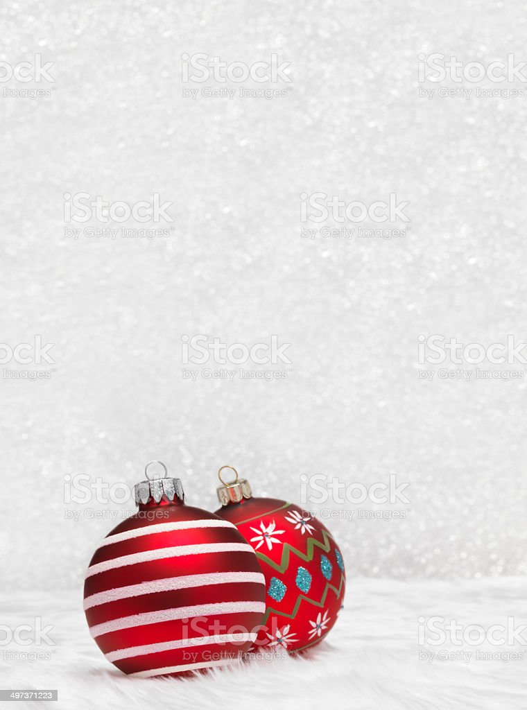 Baubles and silver background royalty-free stock photo