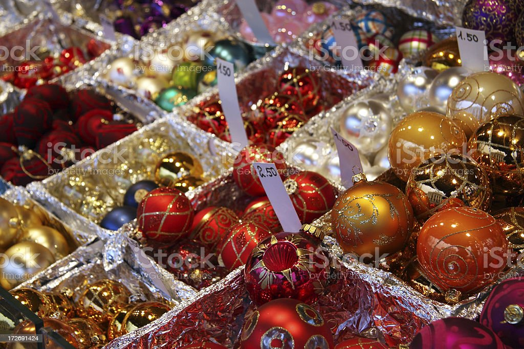 Baubles at the Christkindlmarkt in Vienna, Austria royalty-free stock photo
