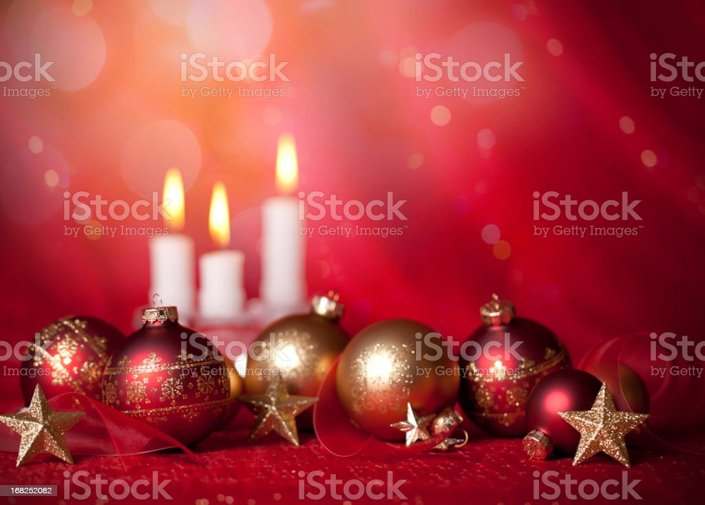 Baubles Candles and Stars on Red royalty-free stock photo